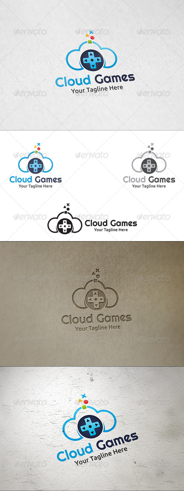 GraphicRiver Cloud Games Logo Template 8324725