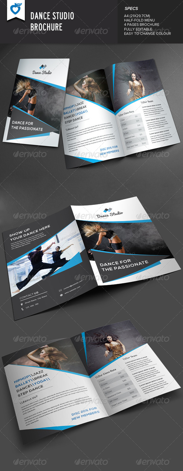 GraphicRiver Dance Studio Brochure 8324758