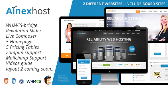 ThemeForest Ainex Host WHMCS WordPress Integration Theme 8232489