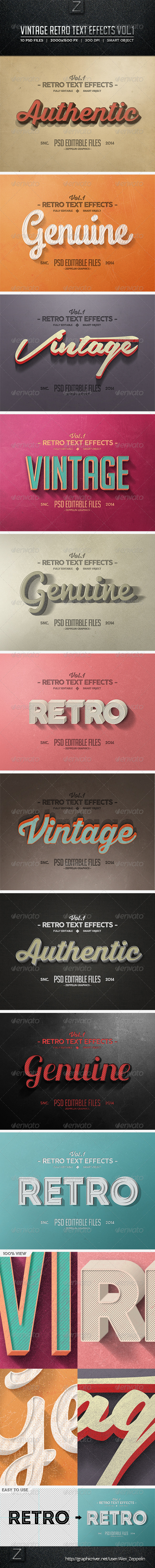 GraphicRiver Vintage Text Effects Vol.1 8286248