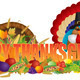 Happy Thanksgiving Text with Cornucopia Pilgrim Turkey - PhotoDune Item for Sale
