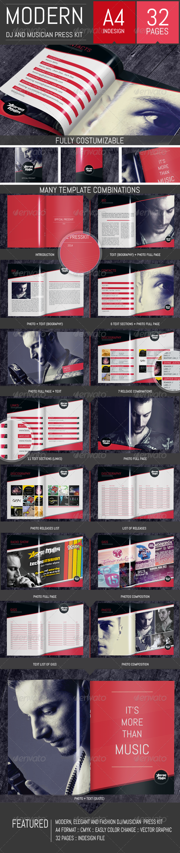 GraphicRiver DJ and Musician Press Kit Resume Template 8325504
