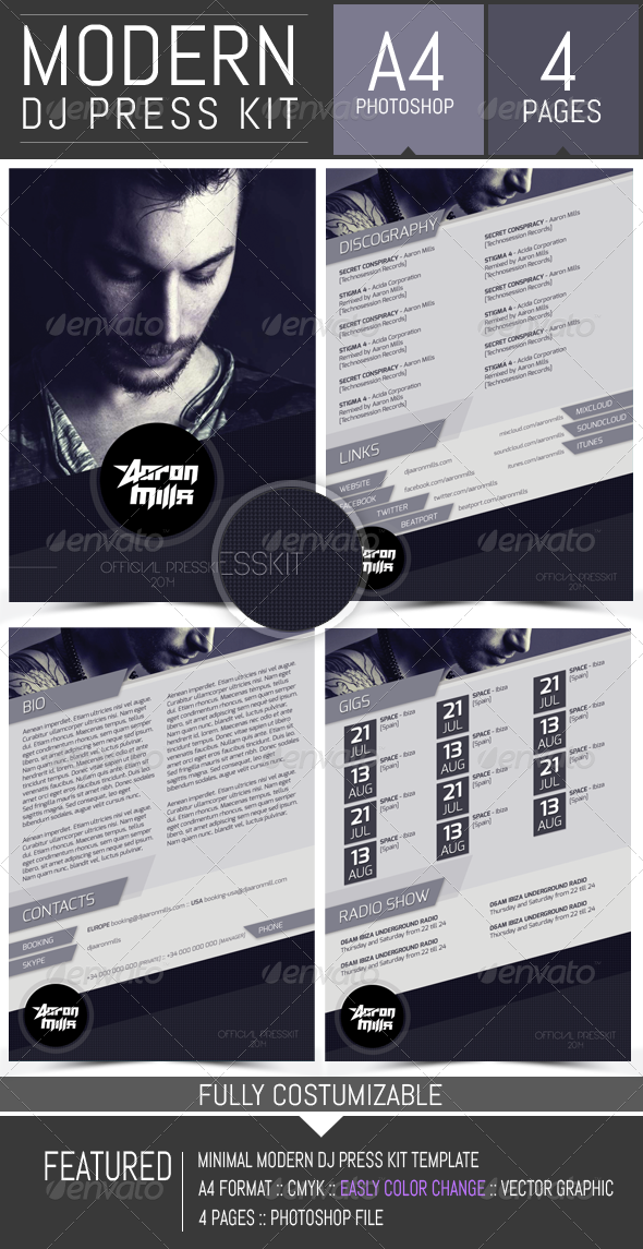 GraphicRiver Dj and Musician Press Kit Resume Template 8325520