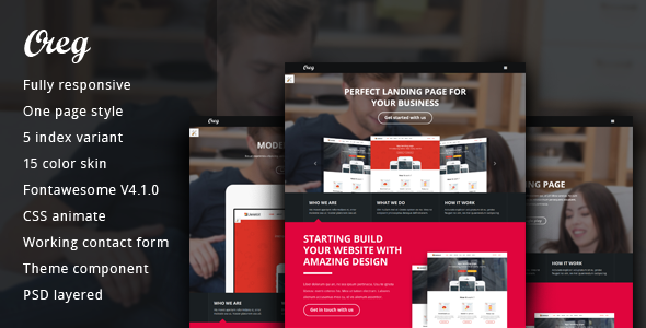 Oreg Modern and Multi-purpose Landing Page
