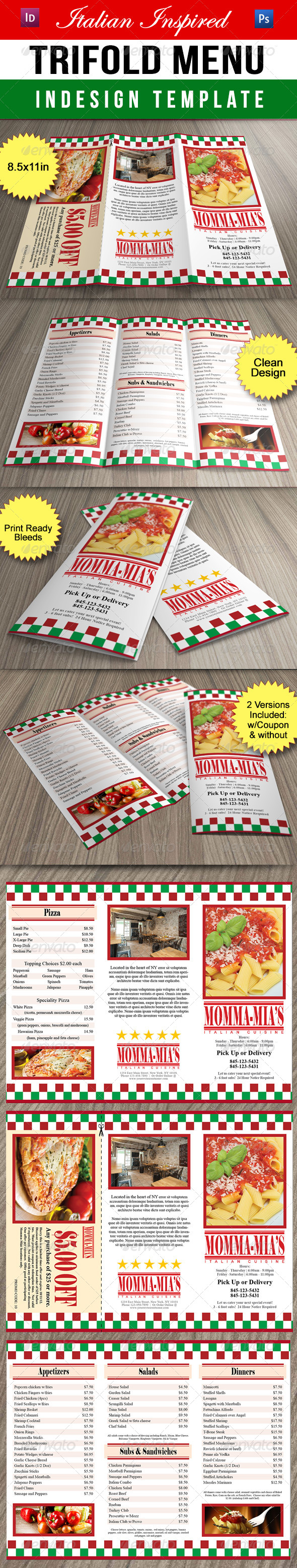 GraphicRiver Italian Inspired Trifold Restaurant Menu 8296535