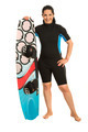 Happy surfer woman with surfboard - PhotoDune Item for Sale