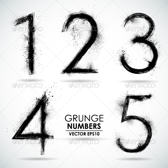 GraphicRiver Vector Set Grunge Numbers Part 1 8326629
