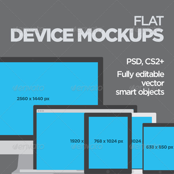 GraphicRiver Flat Device Mockups 8321172