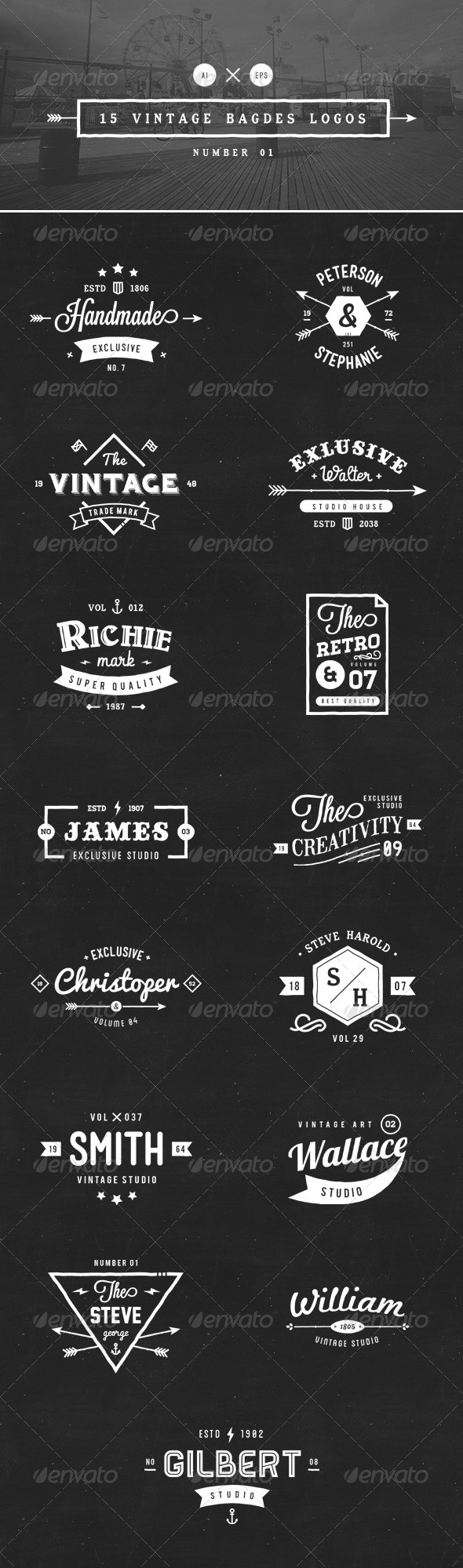 GraphicRiver 15 Vintage Badges Logos Number 01 8327367