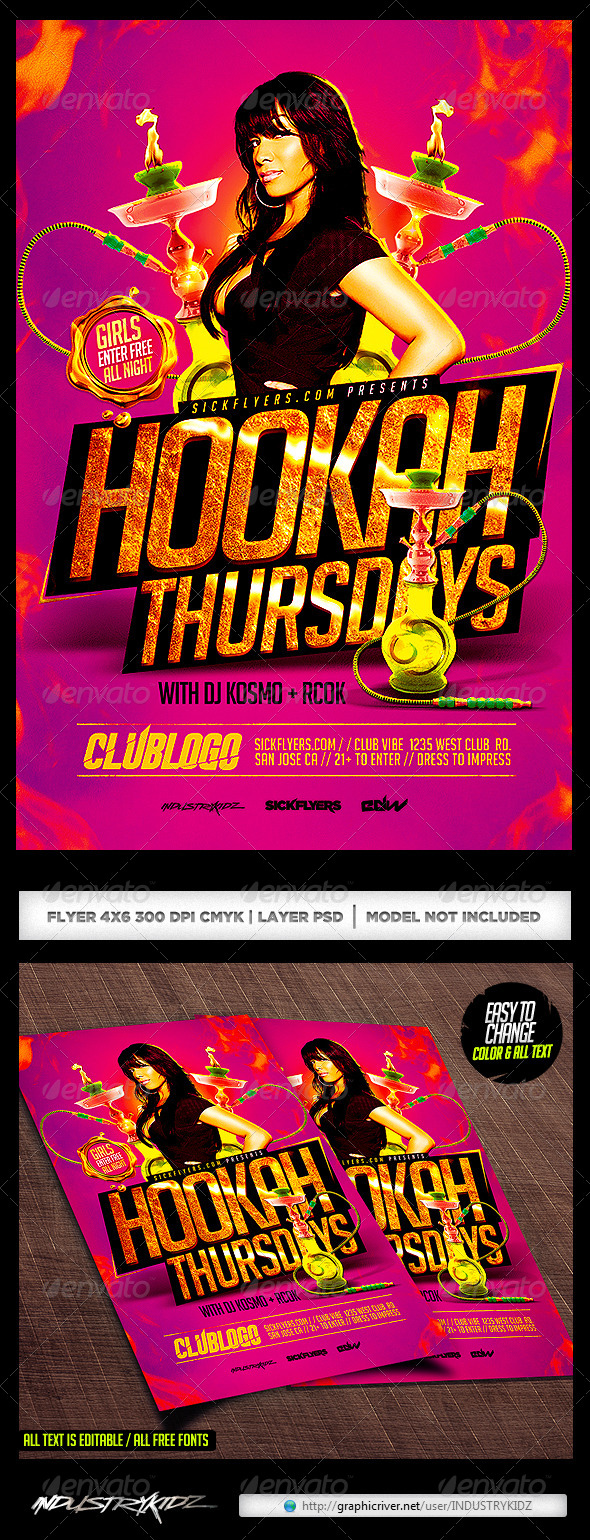 GraphicRiver Hookah Lounge Flyer Template PSD 8327473