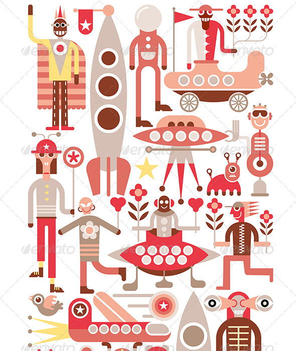 GraphicRiver Humans and Aliens Vector Illustration 8327506