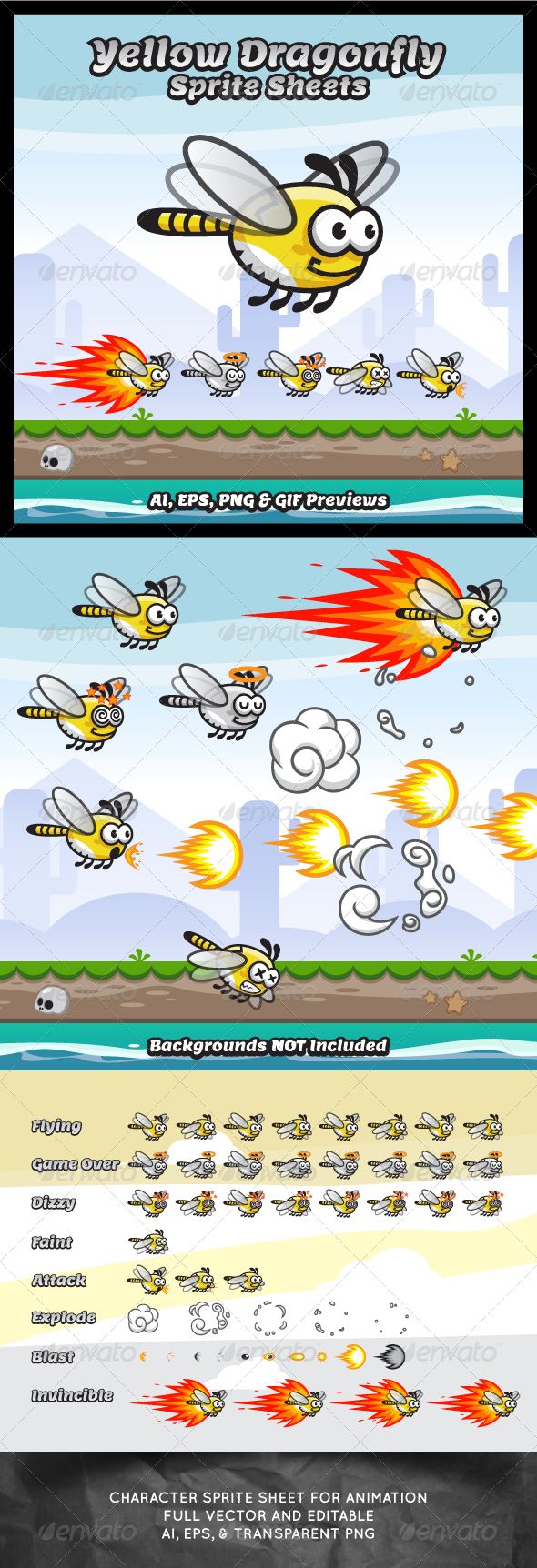 GraphicRiver Yellow Dragonfly Sprite Sheets 8327864