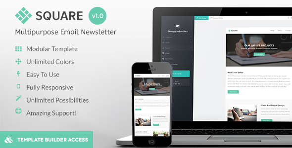 Square - Modern Email + Builder / Editor Access - Newsletters Email Templates