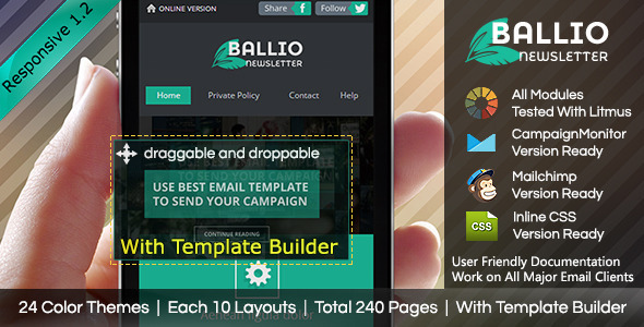 BALLIO-Flat Responsive Email With Template Builder - Email Templates Marketing
