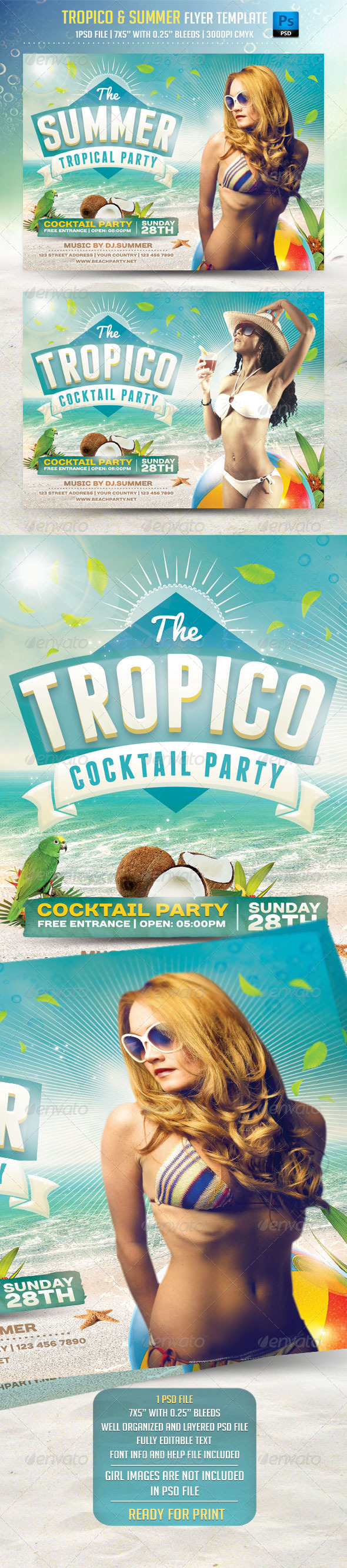 GraphicRiver Tropico and Summer Flyer Template 8328440