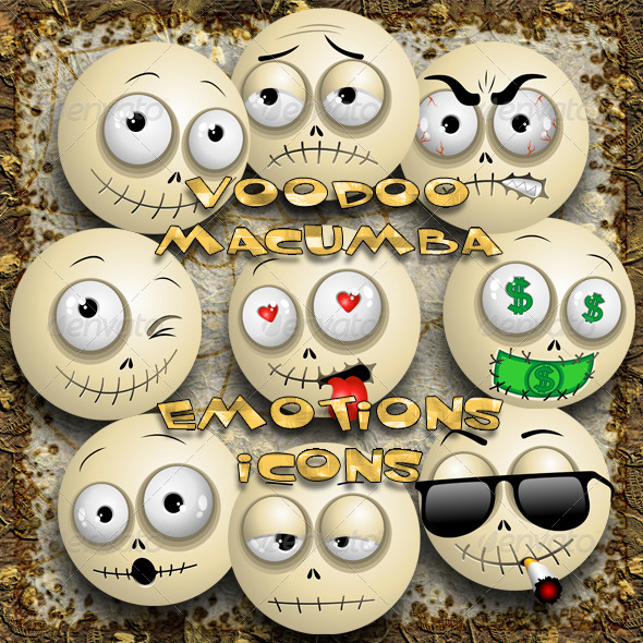 GraphicRiver Voodoo Macumba Smileys Emotions Icons 8328626