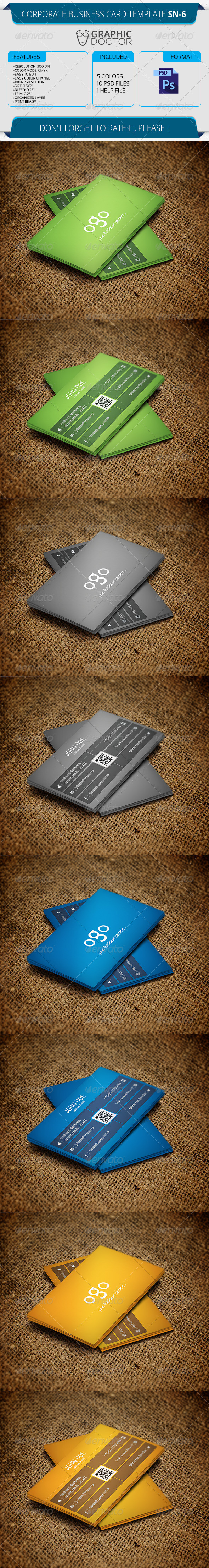 Corporate Business Card Template SN-6