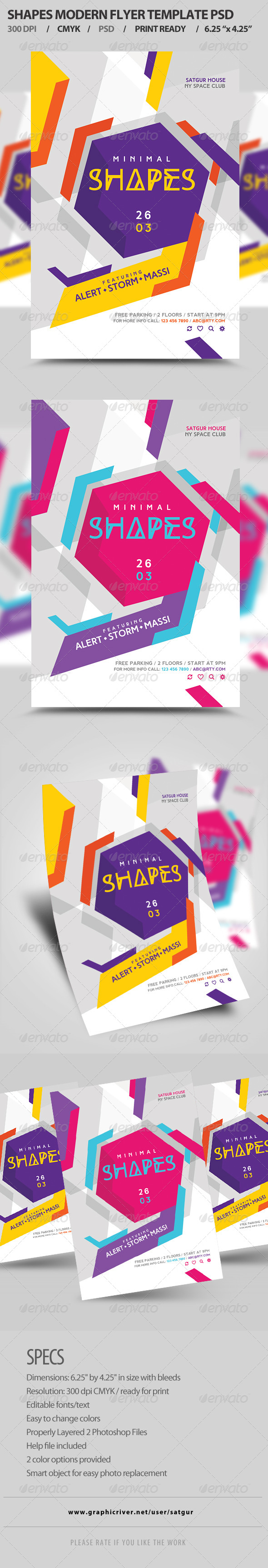GraphicRiver Shapes Flyer Template PSD 8329184