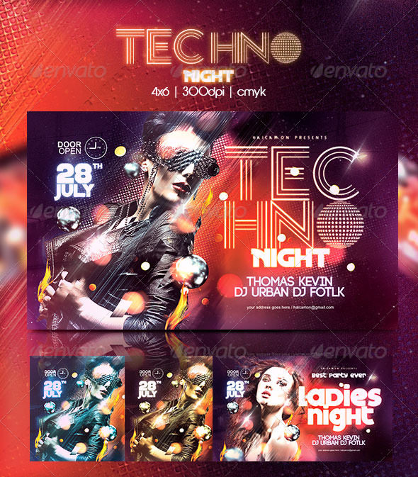 GraphicRiver Techno Night Party Flyer 8329498