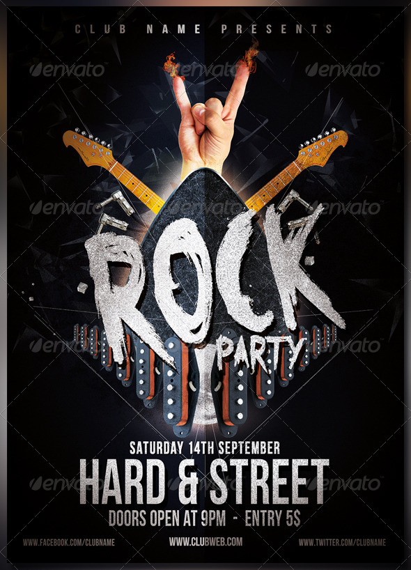 GraphicRiver Rock Party Flyer Poster 8329509