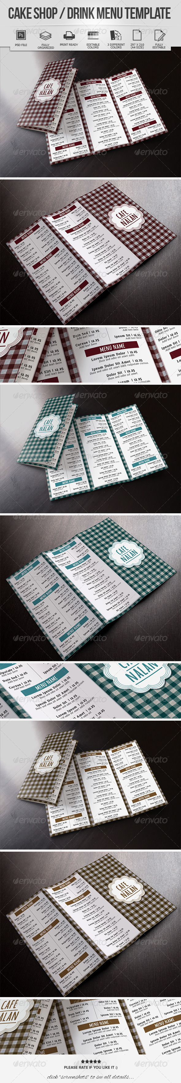 GraphicRiver Cake Shop Drink Menu Template 8329514