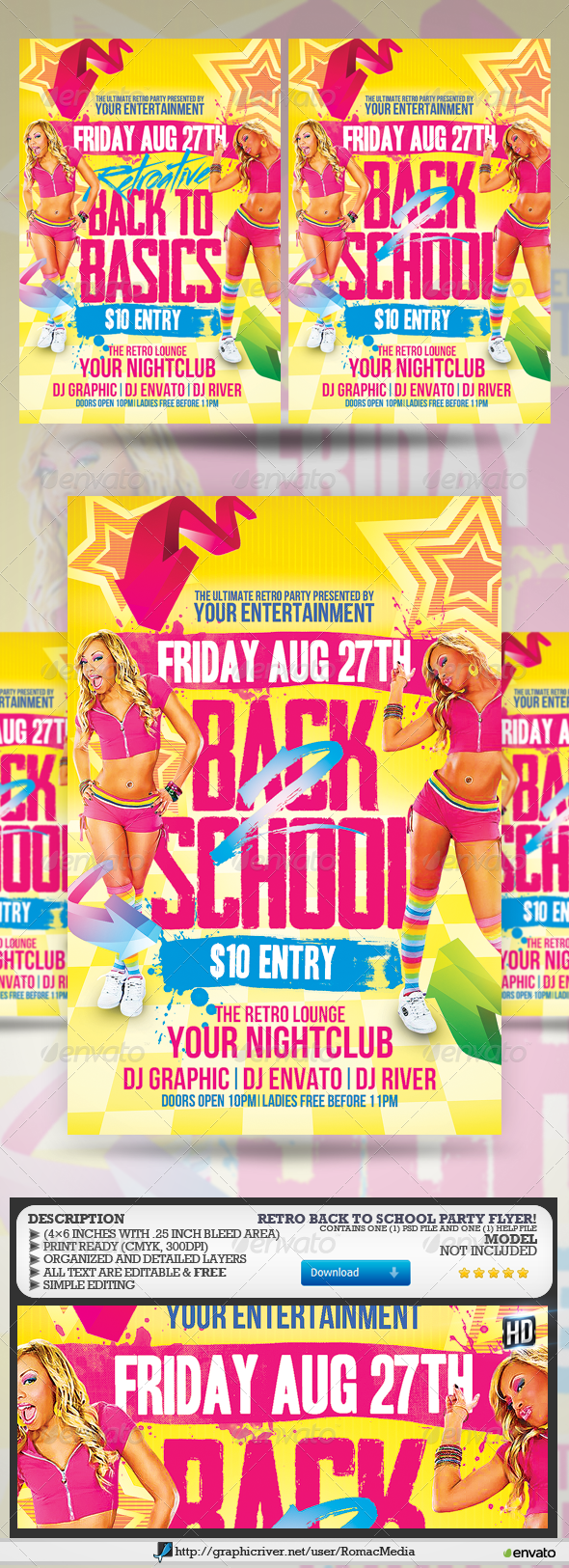Retro Back to School Party Flyer