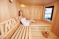 Woman enjoying a peaceful sauna on her own - PhotoDune Item for Sale
