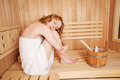 Tranquil young woman in a sauna - PhotoDune Item for Sale