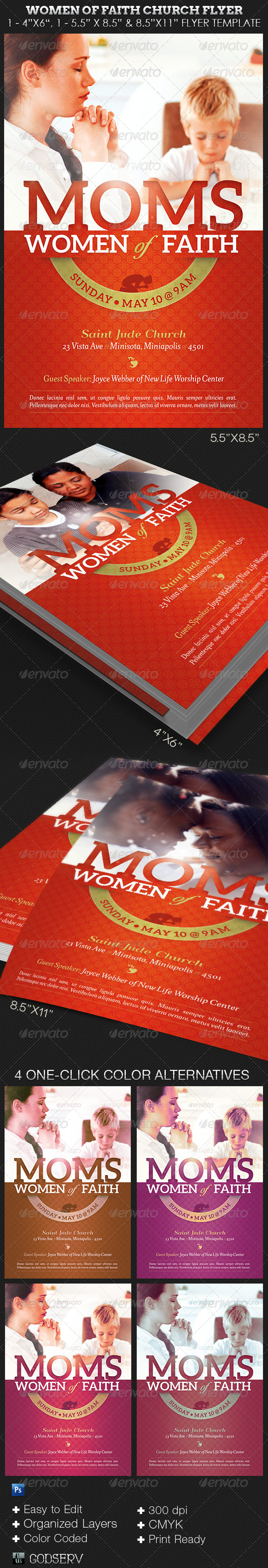 GraphicRiver Women of Faith Church Flyer Photoshop Template 8329850