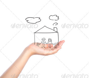 Family on hand with house isolated on white background - PhotoDune Item for Sale