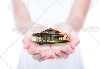 House on woman hands over body isolated on background. - PhotoDune Item for Sale