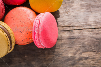 French colorful macarons on wood table - PhotoDune Item for Sale