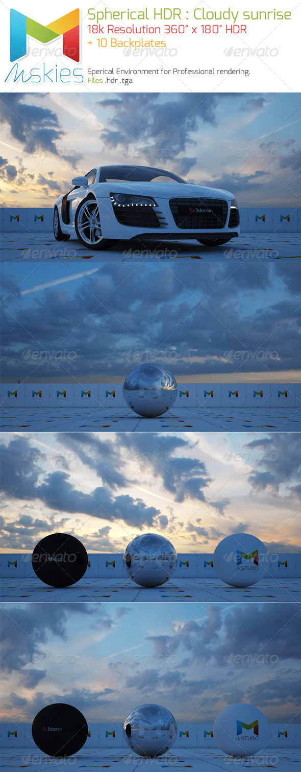 Spherical HDRI Cloudy sunrise full sky - 3DOcean Item for Sale