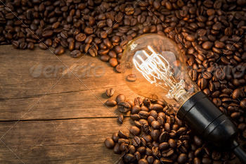 Light bulb on  coffee beans - PhotoDune Item for Sale