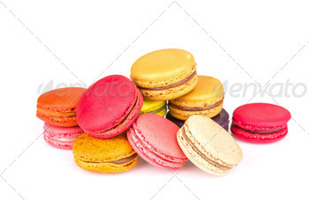 French colorful macarons on white background - PhotoDune Item for Sale