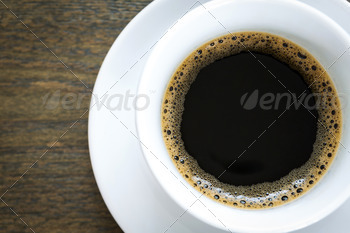 Coffee in white cup on wood table - PhotoDune Item for Sale