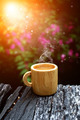 morning coffee with wood cup. - PhotoDune Item for Sale