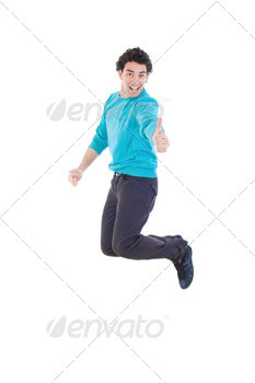 Cheerful young casual man jumping in air showing thumb up - PhotoDune Item for Sale