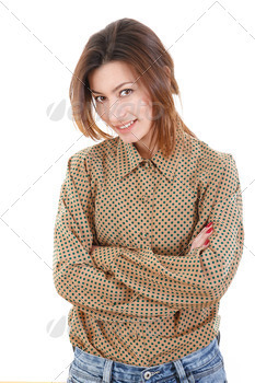 smiling beautiful young woman in brown shirt and jeans - PhotoDune Item for Sale