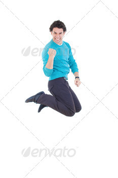 Young successful man jumping out of joy expressing happiness - PhotoDune Item for Sale