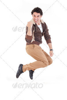 Excited man jumping out of joy achieving success - PhotoDune Item for Sale