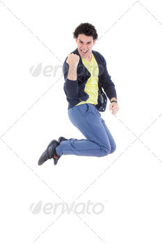 Excited successful man jumping of joy with proud expression - PhotoDune Item for Sale