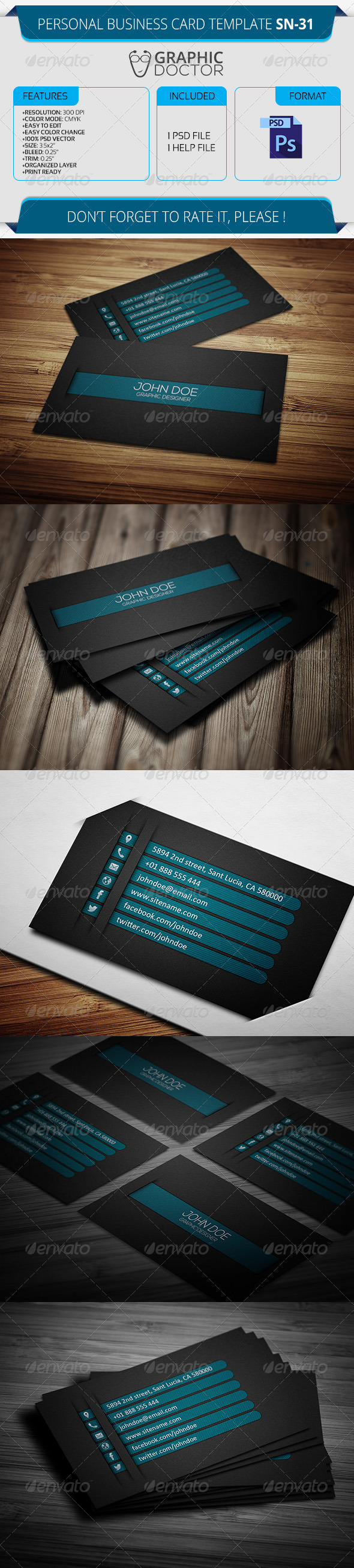 Personal Business Card Template SN-31