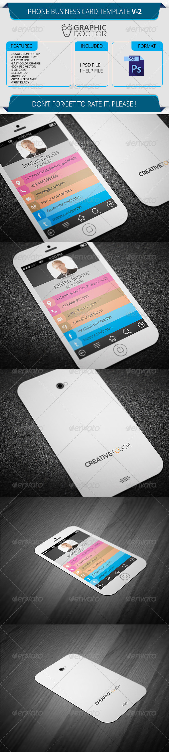 Iphone business card template v 2 graphicriver for Iphone business card template
