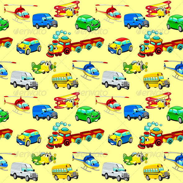 GraphicRiver Funny Vehicles Background 8331996