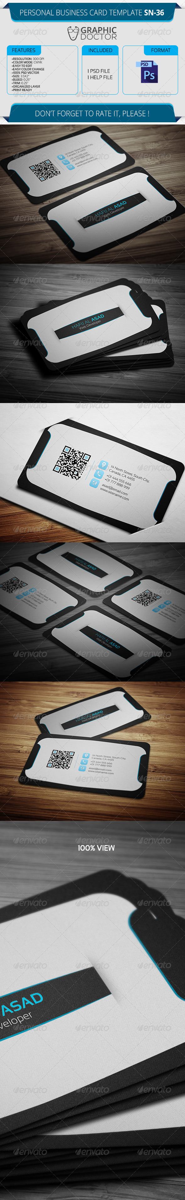 Personal Business Card Template SN-36