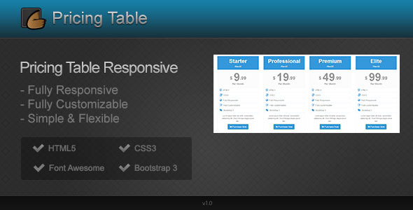 Pricing Table Responsive - CodeCanyon Item for Sale