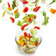 Fresh vegetables falling into the glass bowl - PhotoDune Item for Sale