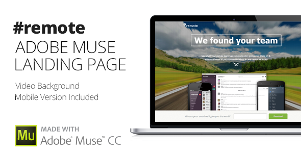 Remote | Adobe Muse Landing Page Template Download
