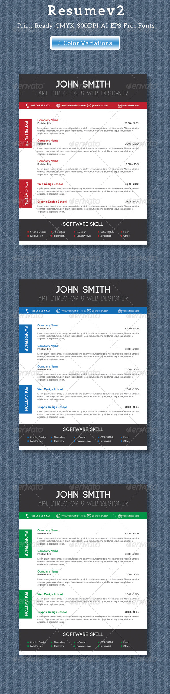 GraphicRiver Clean Creative Resume V2 8325960